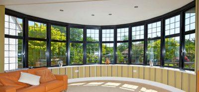 black framed aluminium windows