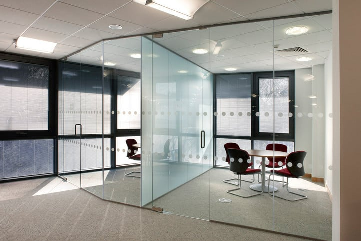 glass office partitions used