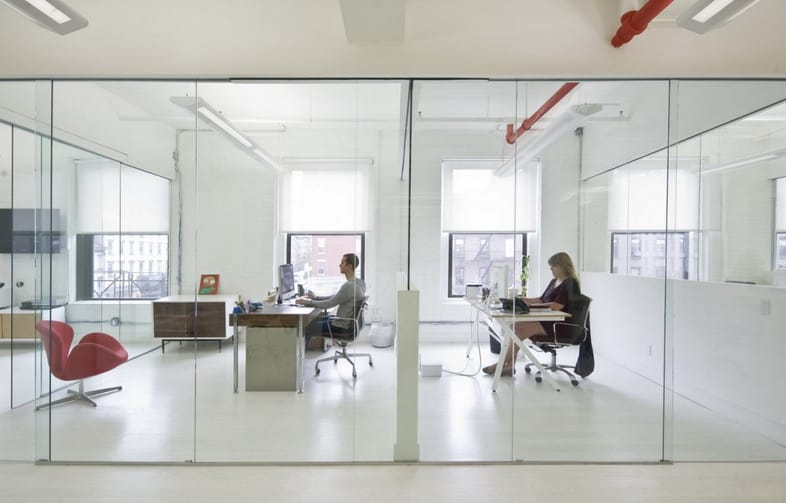 half glass wood partitions office interiors