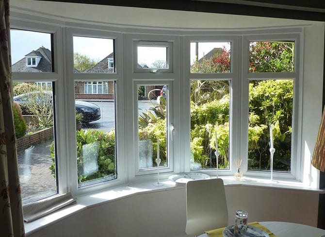 bay window with double hung windows