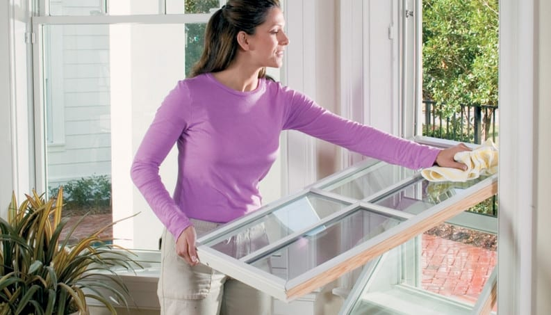 cleaning a double hung window