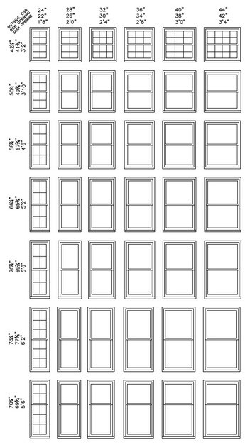 double hung window dimensions