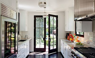 kitchen with french doors to patio