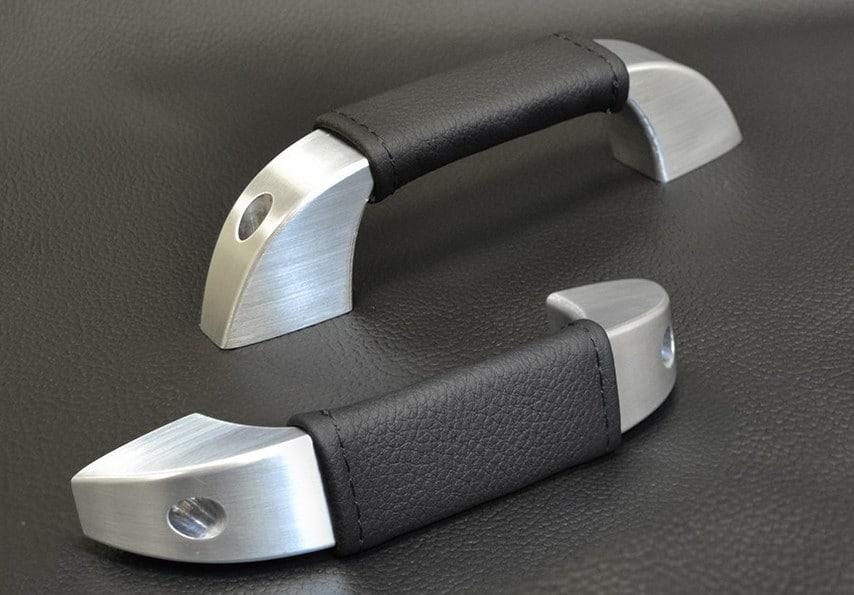 aluminium door handles with leather grip