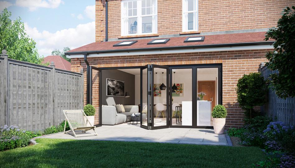 exterior bifold doors opening to backyard