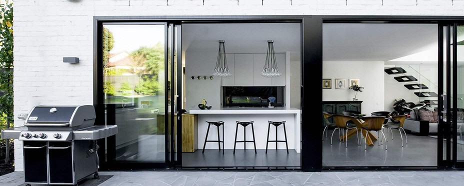 sliding doors opening up to backyard