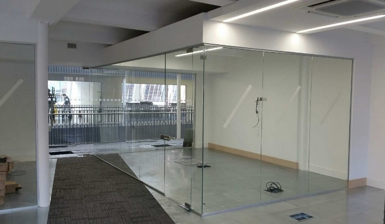 Single Glazed Partition with full height lockable door