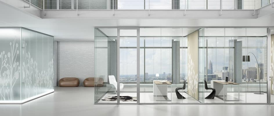 clean modern glass office fitout design