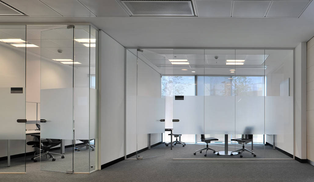 frameless glass office partition walls in north shore sydney