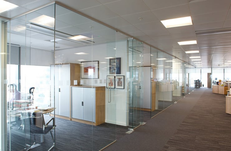 office decor with new glass installation