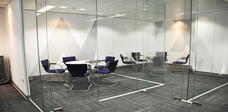 partitioning meeting room in an office with glass