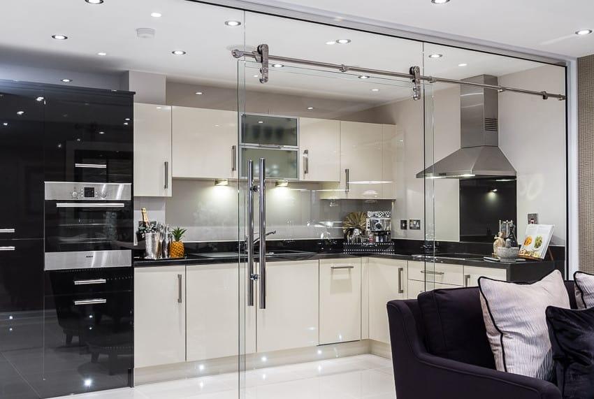 sleek elegant frameless glass office partition doors