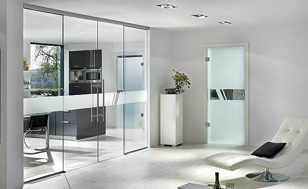 stylish full length frameless glass partitions and doors
