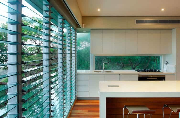 aluminium and glass louvres in a modern Sydney home