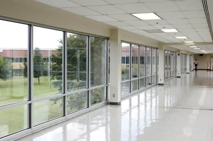 commercial glass windows with aluminium frames for a building