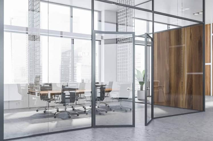 commercial grade aluminium and glass french door for a business meeting room
