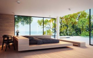 glass windows installed in a lakeside house
