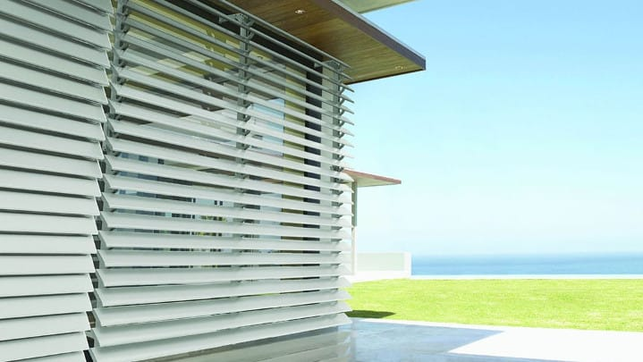 white aluminium louvres in a home