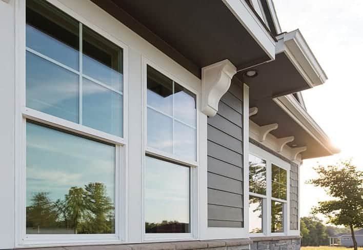 white powder coated aluminium double hung windows