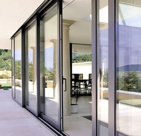 installation of external aluminium and glass sliding doors