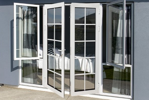 low e glass double swing aluminium french door